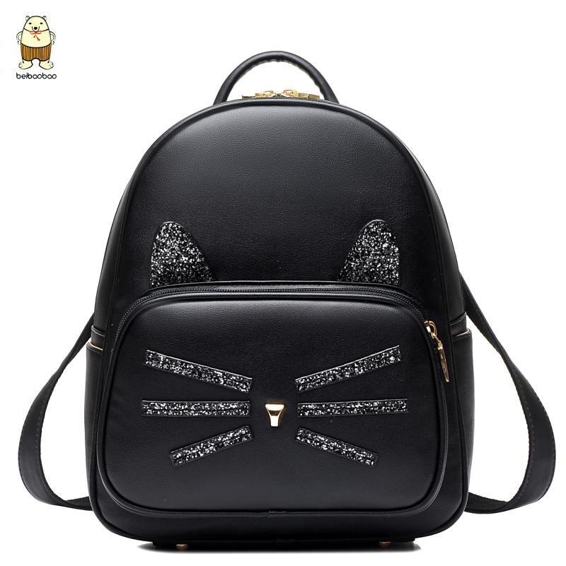 女士雙肩包 女生書包 女款旅行包 女士後背包 2017年新款個性潮流雙肩背包休閑時尚可愛小貓書包