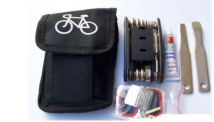 可攜式自行車修理工具包實用多功能自行車工具套裝組合補胎包