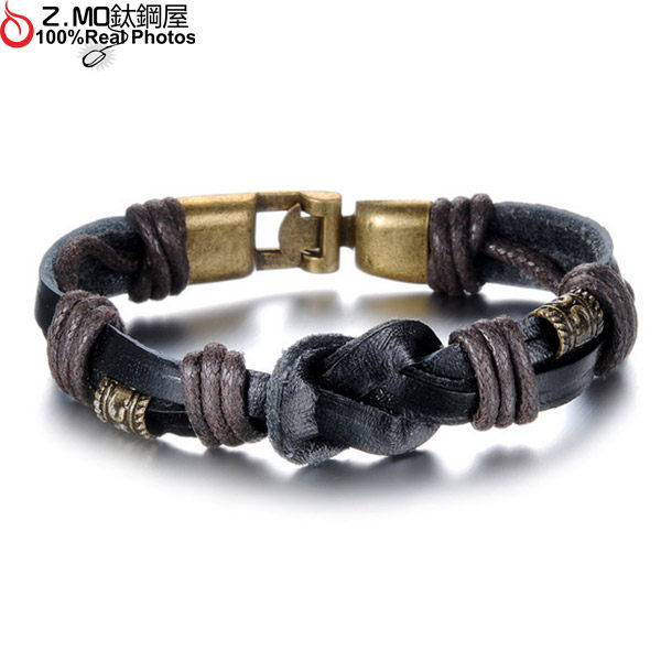 [Z-MO鈦鋼屋]民俗風/黑色系皮手環/交換禮物/朋友禮物/單件價【CKL875】