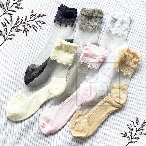 水晶短襪韓版玻璃絲襪網紗襪NO.8161 OS小舖