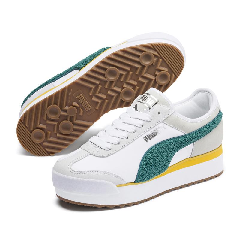 Puma Roma 白色 女 運動鞋 復古足球運動鞋 厚底 增高 毛絨立體 logo 休閒鞋 37094704