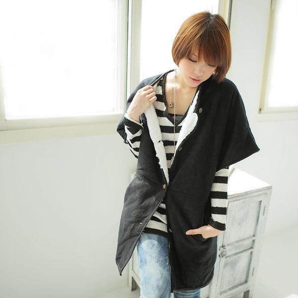韓版Rina-皮絨短袖外套黑色魔小物現貨