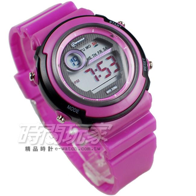 MINGRUI雙色配多功能計時腕錶學生電子錶兒童手錶女錶鬧鈴日期冷光照明MR8567紫