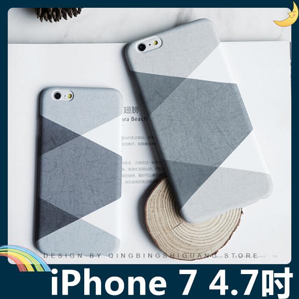 iPhone 7 4.7吋黑白灰撞色保護套PC硬殼黑白格調時尚撞色輕薄簡約款手機套手機殼背殼外殼
