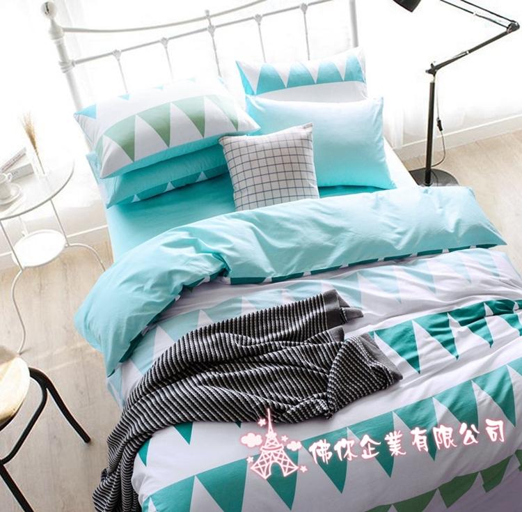 北歐簡約風雙人床包組巴黎5尺標準雙人純棉床包清新雙人枕套被套床包ikea床單佛你企業