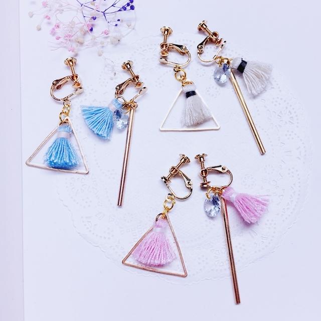 夾式耳環獨家設計三角形鏤空流蘇鋯石金屬棒不對稱夾式耳環
