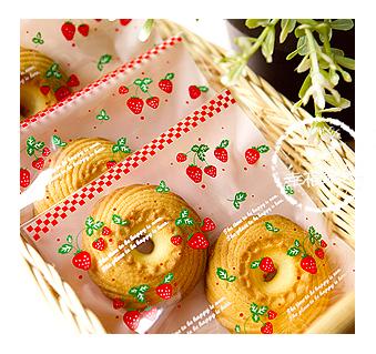 幸福朵朵【自黏OPP包裝袋(禮物包裝.烘焙點心包裝)I.粉色草莓款x10枚】西點糖果餅乾