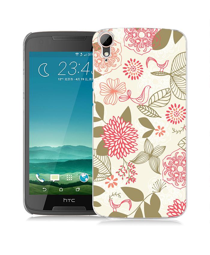 俏魔女美人館粉色花圖立體浮雕水晶硬殼HTC Desire 828手機殼手機套保護套保護殼