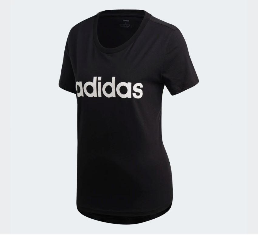 Adidas ESSENTIALS LINEAR TEE 女款黑色休閒短袖上衣-NO.DP2361