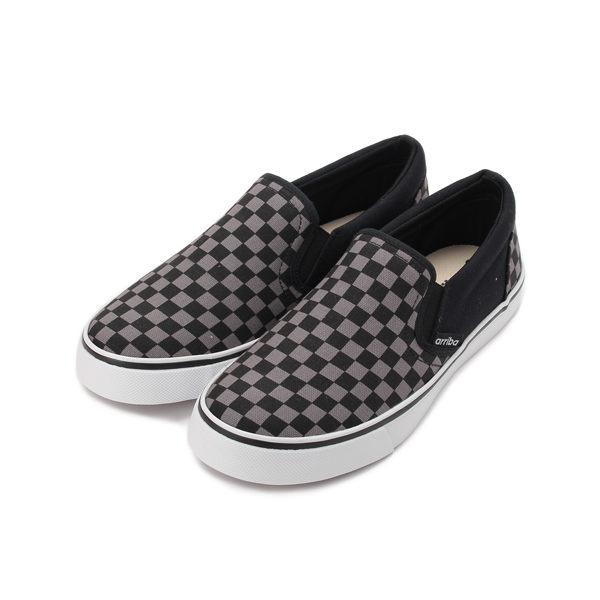 ARRIBA 格紋套式帆布鞋 灰黑 AB-8088 男鞋 鞋全家福