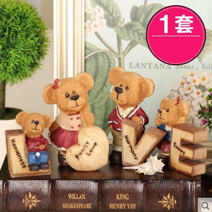 F0635 迷妝☆love泰迪熊一家樹脂工藝品 客廳裝飾品隔板擺件