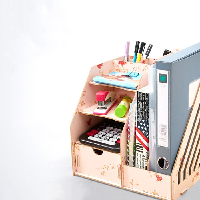 DIY木質小物桌上文件收納盒筆筒文件夾抽屜整理盒SV8263快樂生活網