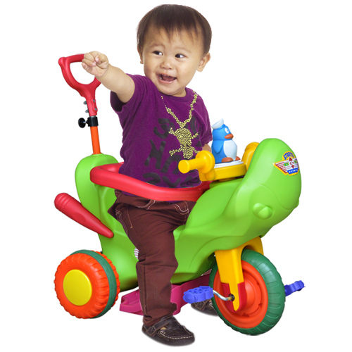 寶貝樂小企鵝哈雷三輪車附伸縮拉桿及安全護欄BTTR07