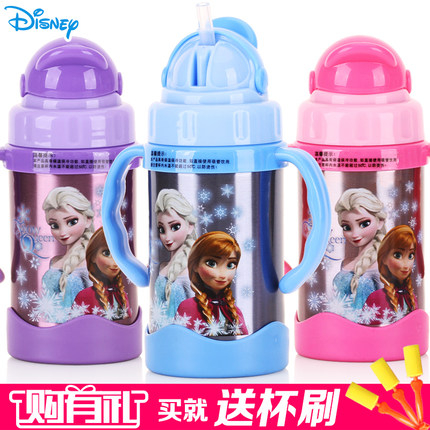 兒童保溫杯帶吸管防漏迪士尼不鏽鋼杯子冰雪奇緣水杯寶寶學飲杯