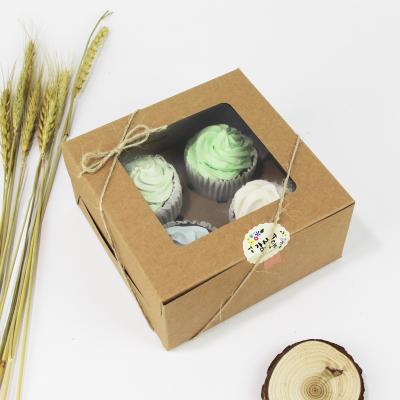 4入開窗牛皮紙方盒馬芬瑪芬盒杯子蛋糕蛋糕盒慕斯奶酪月餅盒手提盒禮盒蛋塔盒布丁盒