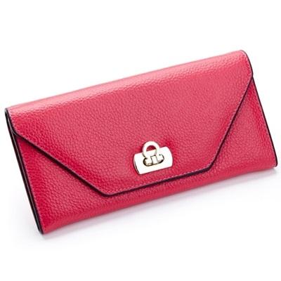 皮夾(長夾)-信封式簡約純色鎖扣兩折女零錢包4色73eb40[時尚巴黎]