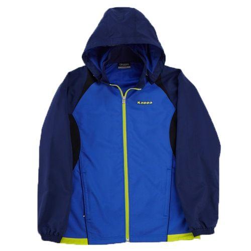 KAPPA義大利時尚UV-CUT單層風衣外套可拆帽~經典藍青藍