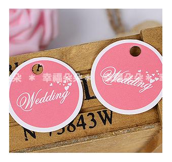 幸福朵朵*【圓形粉色Wedding文字小吊牌】婚禮小物.禮物裝飾吊牌.烘焙包裝.結婚小卡