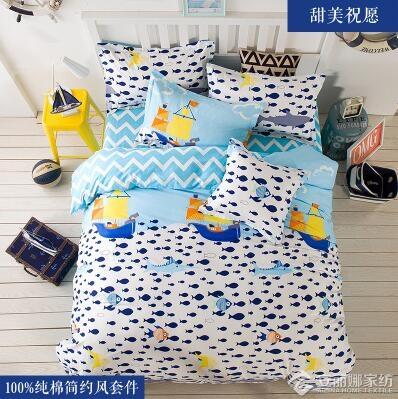 ins田園卡通北歐簡約風純棉床上用品4四件套全棉學生宿舍3三件套(床單1.8m