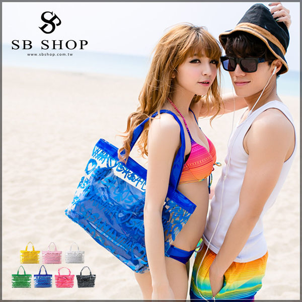 SB SHOP VIVI雜誌款果凍包5色玩水必備比基尼數字防水包海灘包沙灘包螢光包