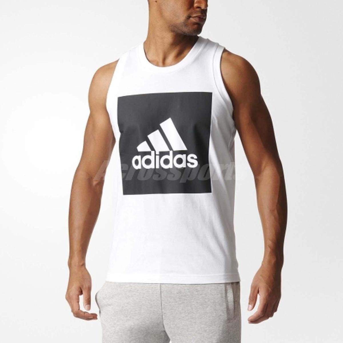adidas背心ESSENTIAL TANK男款吊嘎無袖上衣三條線基本款訓練黑白黑白PUMP306 S98704