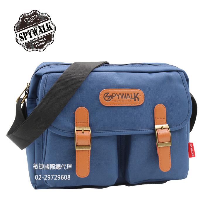 斜背包 SPYWALK韓版青春校園雙口袋尼龍側肩包書包 NO:S5050