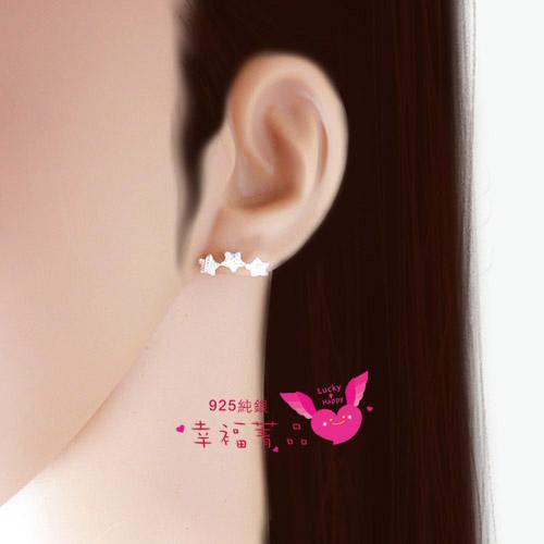 925純銀耳環飛天流星三顆星星連成美麗的耳飾耳邊閃閃發出亮光