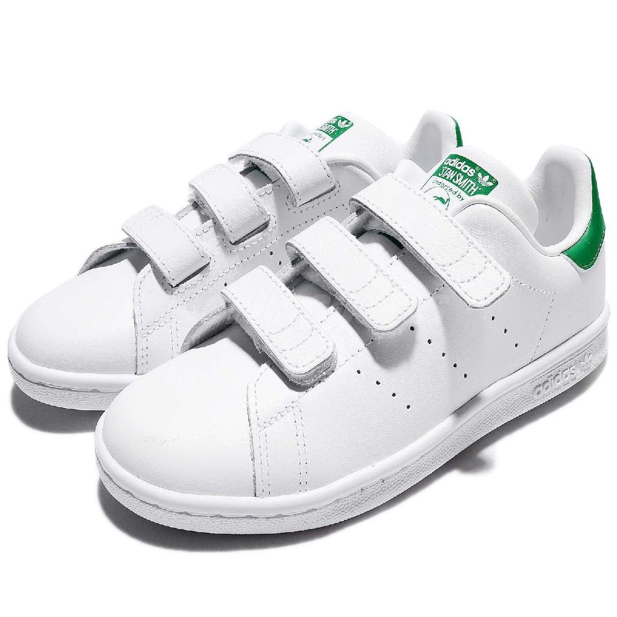 adidas 休閒鞋 Stan Smith CF C 白 綠 基本款 魔鬼氈 童鞋 中童鞋【PUMP306】 M20607