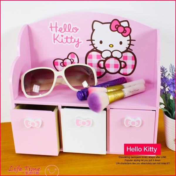 《最後2個》Hello Kitty 凱蒂貓 正版 格紋 3抽屜 收納盒 化妝櫃 收納櫃 B01135