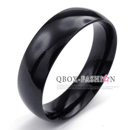 《 QBOX 》FASHION 飾品【W10022928】精緻個性粗版素面黑色316L鈦鋼戒指/戒環(0.6cm)