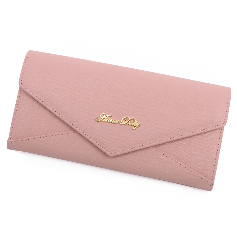 ANNA DOLLY 俏麗微甜Envelope真皮信封長夾(石英粉)