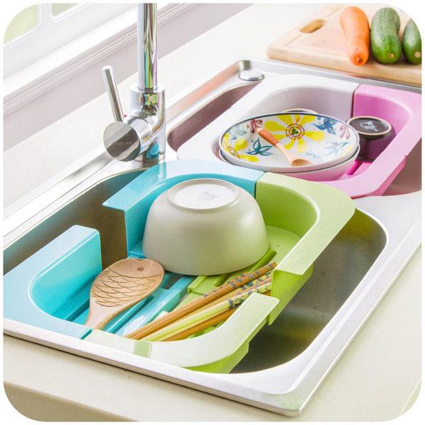 生活家精品S32可伸縮水槽瀝水收納架碗碟瓜果瀝水架廚房用品塑料晾碗架置物架