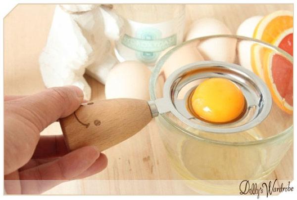 Dolly生活館廚房用品創意天然原木日式zakka笑臉木柄不銹鋼分蛋器20863
