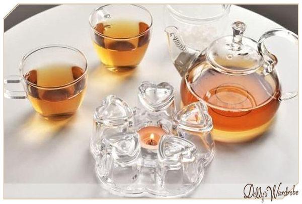Dolly生活館高質感水晶玻璃心形加熱底座蠟燭溫茶器茶壺暖茶器20545