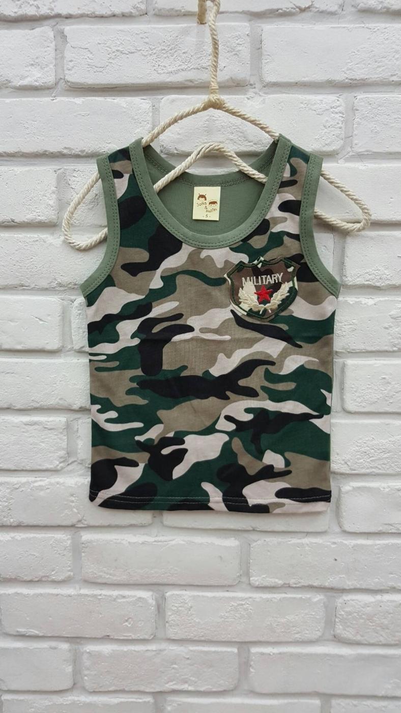 韓版童裝台灣製太陽的後裔-迷彩軍風坦克背心上衣-綠BQ160421025