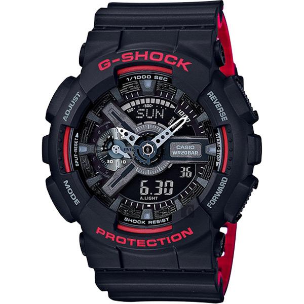 CASIO卡西歐G-SHOCK人氣經典紅黑雙顯手錶GA-110HR-1ADR GA-110HR-1A