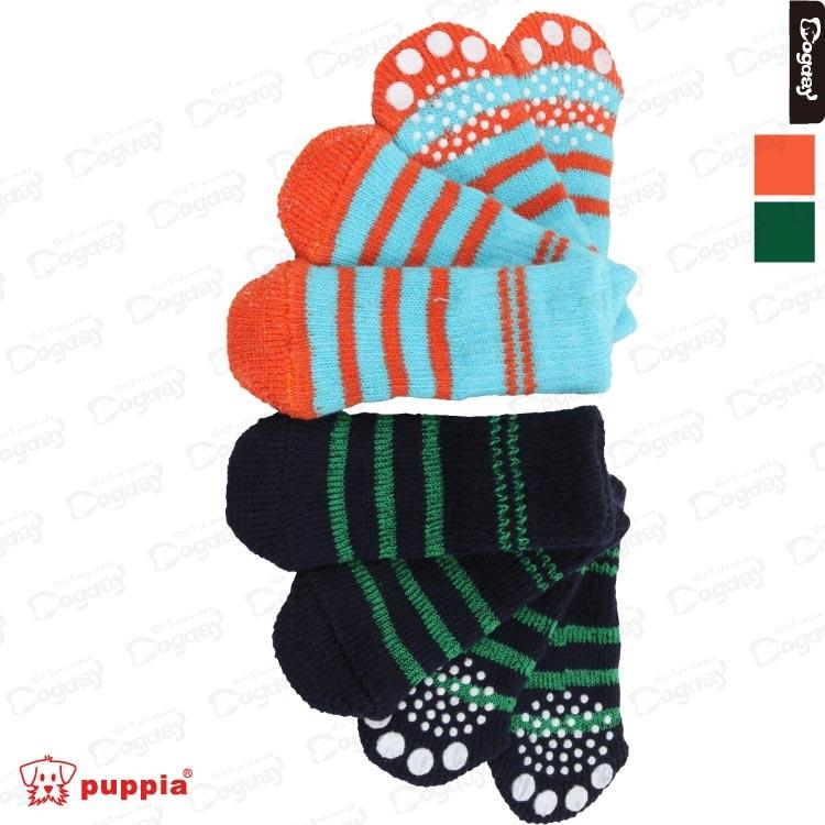 美系《Puppia》條紋防滑襪 S/M/L 橘藍/綠黑 保護狗腳 狗襪子/鞋子