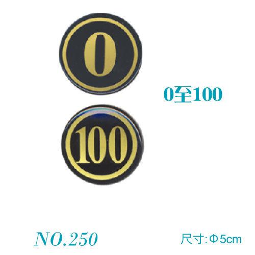 【奇奇文具】【聯合 WIP 號碼牌】W.I.P 號碼牌 黑底金字體 NO.250 (0~100) 5cm