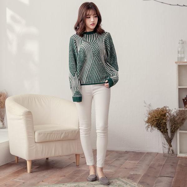 綠白雙色立體波紋柔軟毛衣