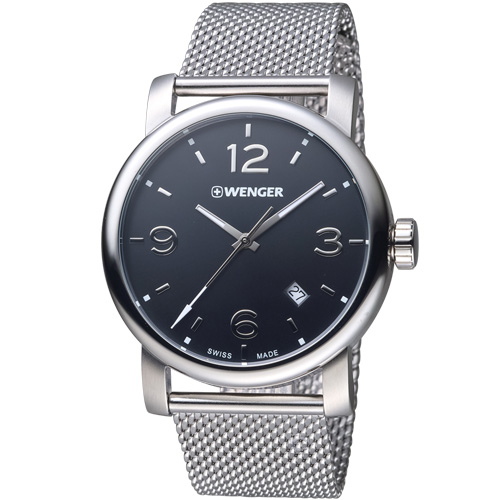 瑞士WENGER Urban 都會系列 都市美學米蘭帶紳士腕錶 01.1041.124