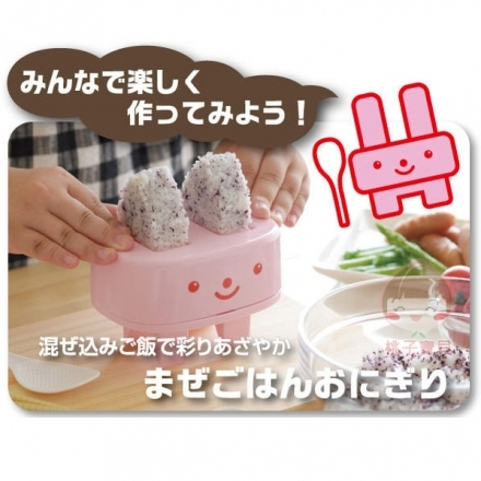 【日本AKEBONO】曙產業 兔子尖耳朵三角飯糰模具組(粉色)~附專用小飯匙‧日本製✿桃子寶貝✿
