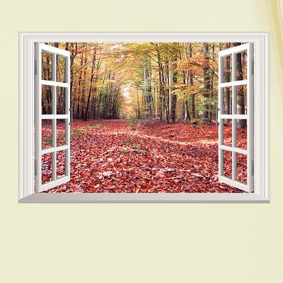 DIY組合壁貼無痕壁貼客廳臥室店面假窗壁貼秋天落葉楓葉森林窗景壁貼假窗紅樹林發現生活