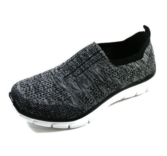 陽光樂活SKECHERS女運動系列EMPIRE ROUND UP編織鞋面12420BKSL黑灰