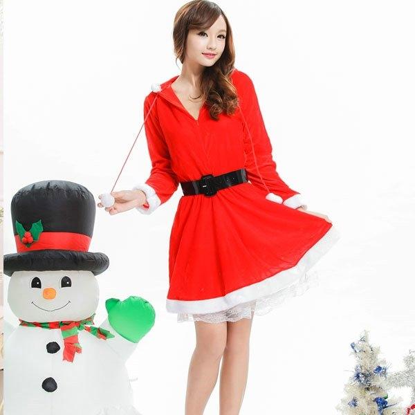 女性衣著爆款派對必備保暖聖誕服跨年聖誕長袖連身帽角色扮演cosplay女性衣著爆款