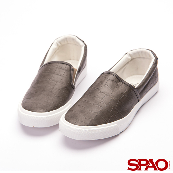 SPAO鱷魚壓紋厚底休閒鞋