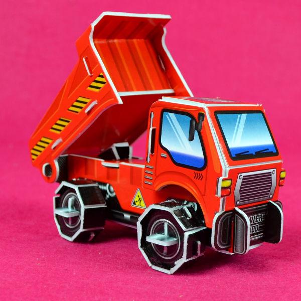 佳廷家庭 親子DIY紙模型3D立體拼圖贈品獎勵品專賣店 袋裝工程車1紅卡車 Calebou卡樂保