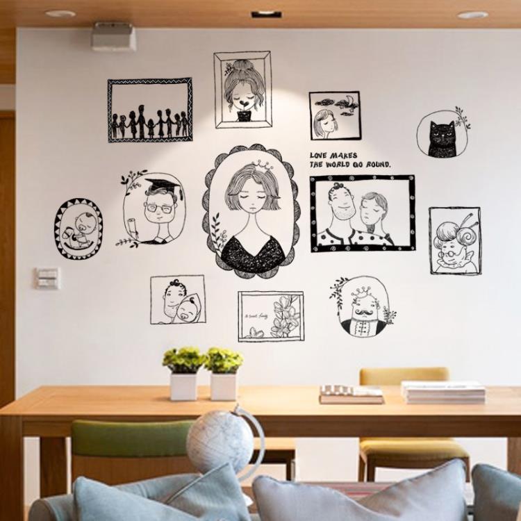 墻貼 簡約客廳手繪文藝人物照片墻相框貼墻貼紙