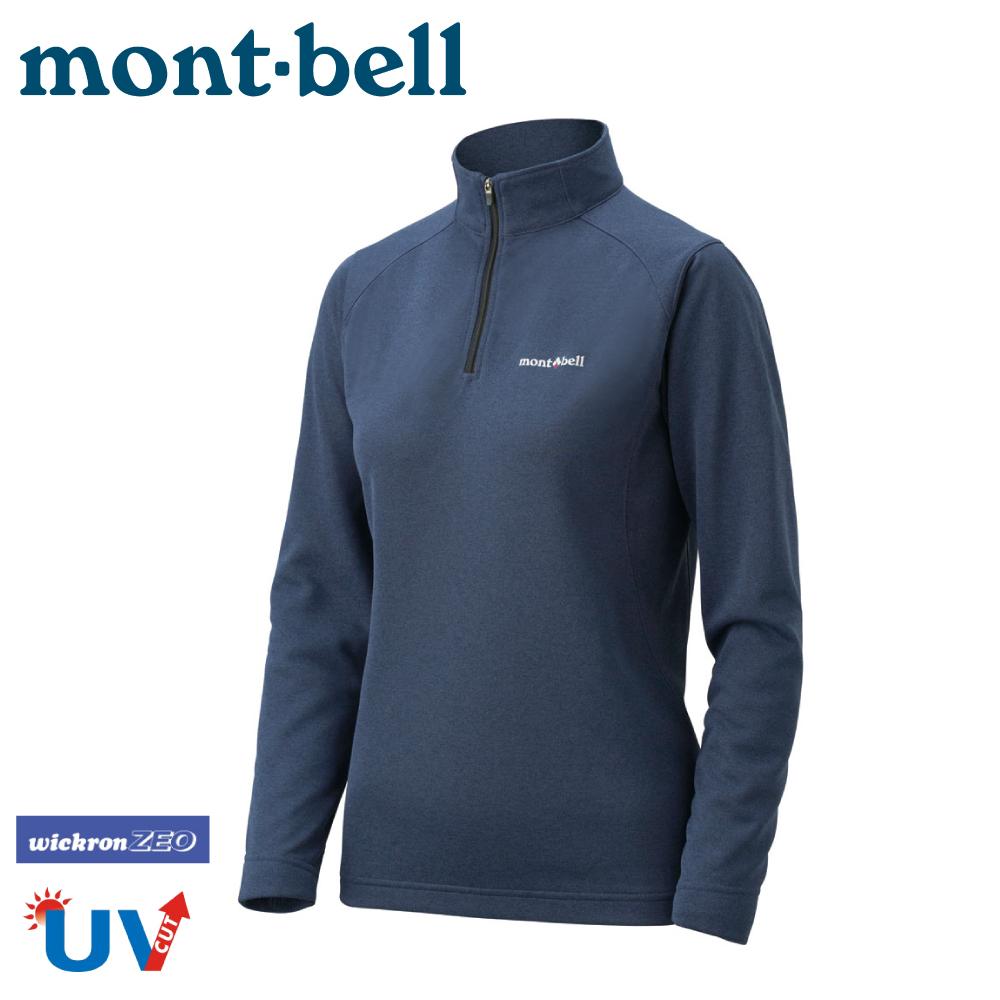 【Mont-Bell 日本 女 Wickron Zeo 長袖半門襟《炭灰》】1104941/刷毛長袖/中層衣/排汗休閒衫/彈性