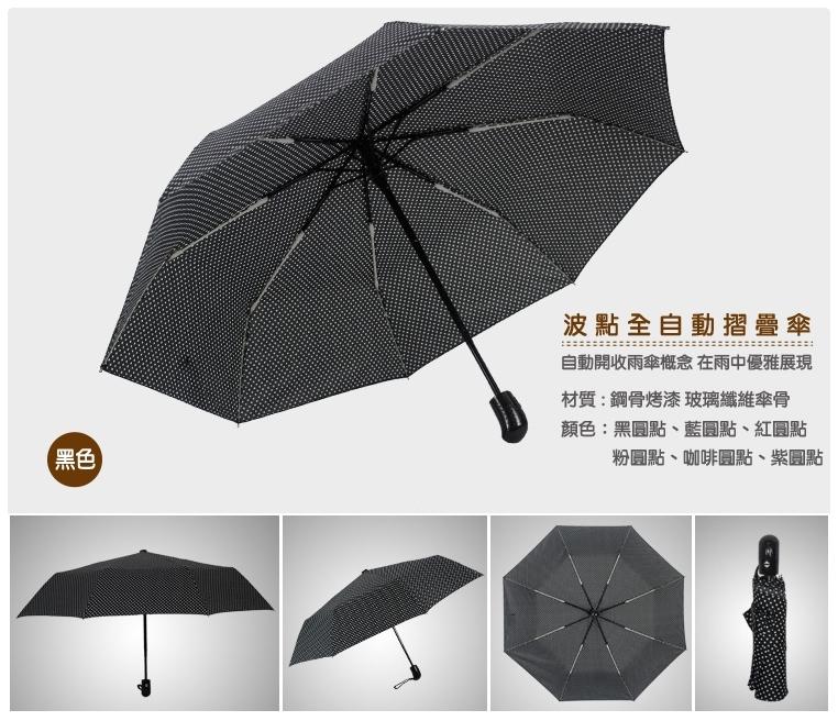 【波點自動傘】一鍵開啟防紫外線遮陽傘 三折傘 單鍵開收摺疊傘 晴雨傘 全自動水玉圓點防風傘