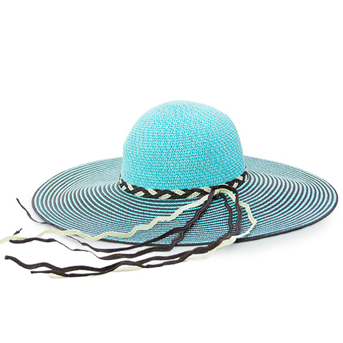 LIKA夢Limehi時尚手工編織帶造型草帽沙灘遮陽帽可折疊帽藍灰Lime-21